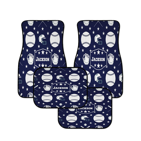 Blue and White Baseball Themed Personalized Monogram Car Mats