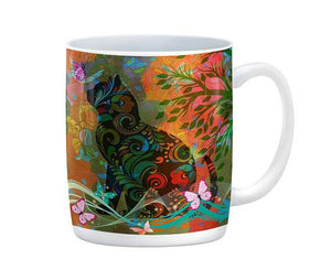 Abstract Boho Cat and Butterflies Mug, 15 oz. Ceramic Coffee Cup