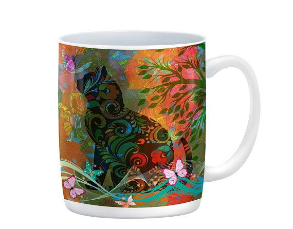 Abstract Hipie Style Cat and Butterflies Mug, 15 oz. Ceramic Coffee Cup
