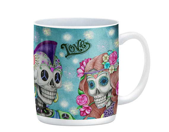 Hippie and the Rocker Sugar Skull Skeleton Mug, 15 oz. Ceramic Coffee Cups