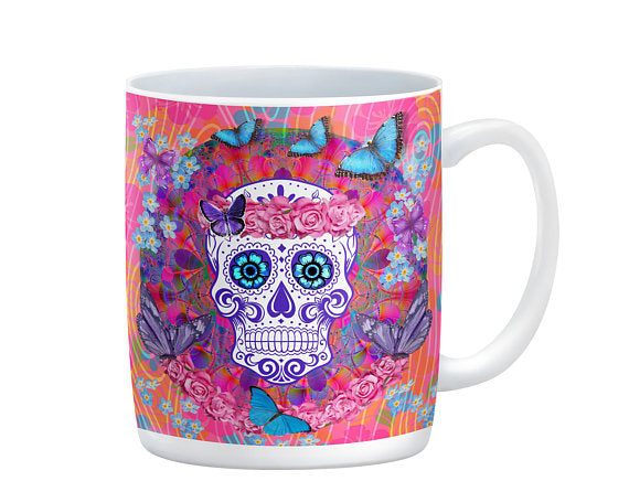 Sugar Skull Day of the Dead Miss Candice Mug, 15 oz. Ceramic Coffee Cups