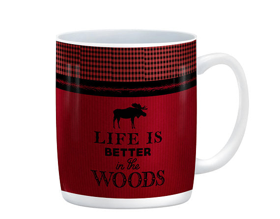 Life is Better in the Woods Moose Mug, 15 oz. Ceramic Coffee Cups
