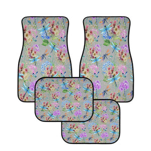 Dragonfly Floral Beige Car Floor Mats