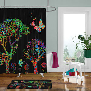 The Black Boho Funky Forest Shower Curtain, Bath Mat, Bath & Hand Towels