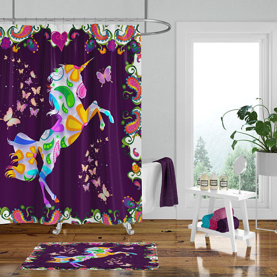Funky Forest Boho Unicorn Shower Curtain Bath Mat Towels Bathroom Decor