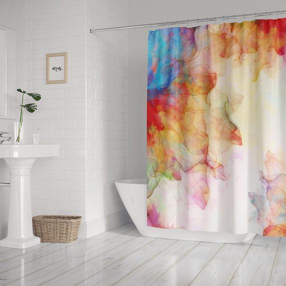 Summer Breeze Watercolor Shower Curtain