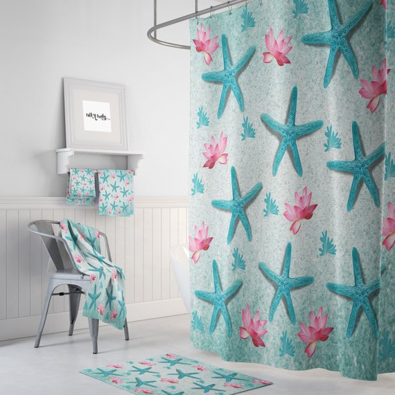 Teal Starfish Pink Lotus Shower Curtain W Bathmat Towel Options