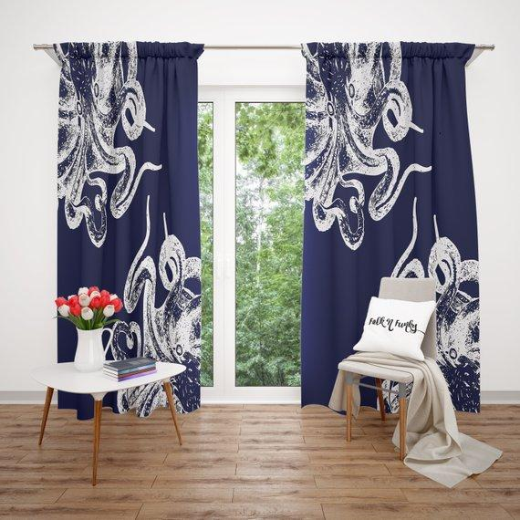 Navy Blue Octopus Window Curtains