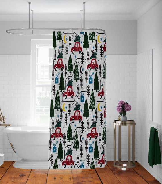 Vintage Red Truck Christmas Shower Curtain
