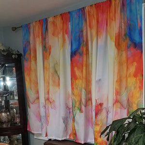 Watercolor Summer Breeze Window Curtains