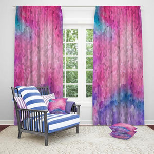 Pastel Watercolor Falling Gems Boho Window Curtains