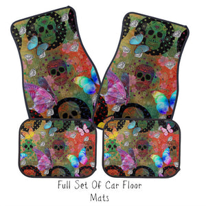 Boho Chic Butterflies and Sugar Skulls Car Floor Mats