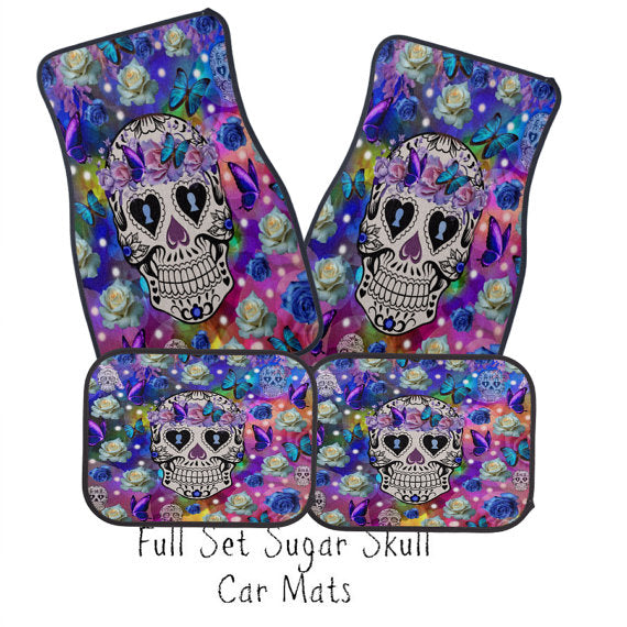 Eclectic Sparkle Sugar Skull and Butterflies Car Floor Mats