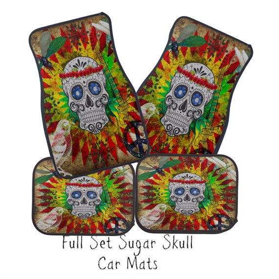 Sugar Skull Dragonfly Rainbow Burst Car Floor Mats