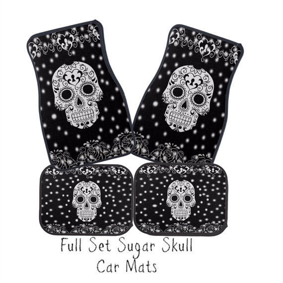 Black and White Keyhole Sugar Skull Car Floor Mats