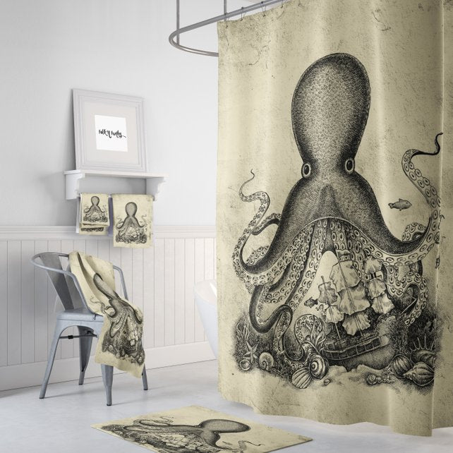 Sketch Octopus And Pirate Ship Shower Curtain