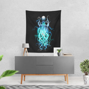 Octopus Wall Tapestry Abstract Home Decor. Large Size Wall Art Wall Black Electric Blues