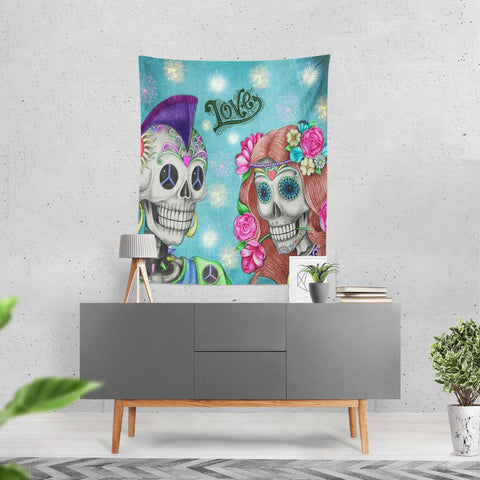 Day Of The Dead Sugar Skull Wall Tapestry, Boho Hippie Skeletons