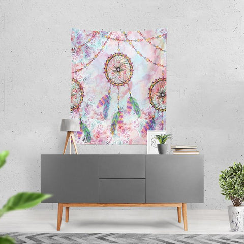 Dream Catcher Wall Tapestry, Pastel Floral