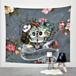 "Sugar Skull Wall Tapestry Skeletons in Love, ""Always Kiss Me Goodnight, Gray Floral Forevermore"