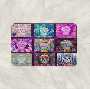 Purple Patchwork Blocks Sugar Skull Bathmat, Folk N Funky Skull Decor