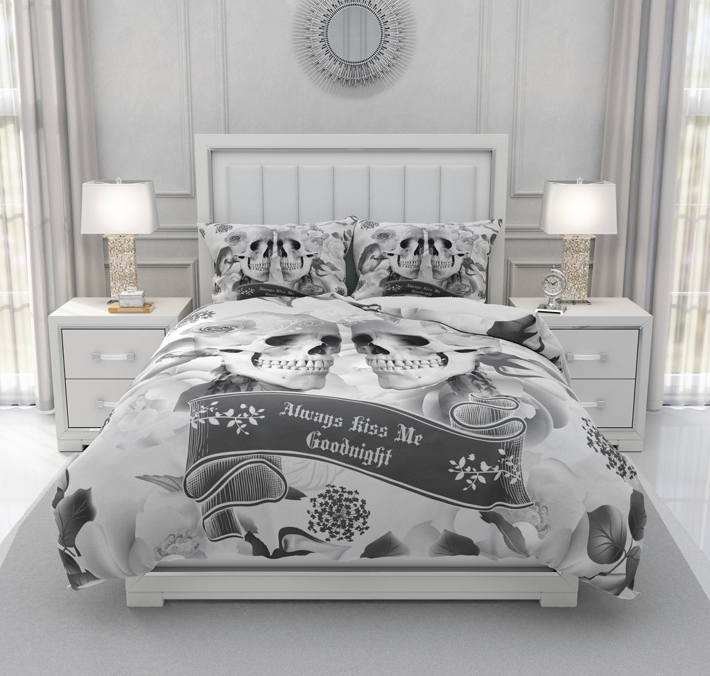 Gray Rose Always Kiss Me Goodnight Calavera Gothic Skull Bedding