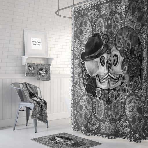 The Gray Bandanna Boho Forevermore Skulls Shower Curtain