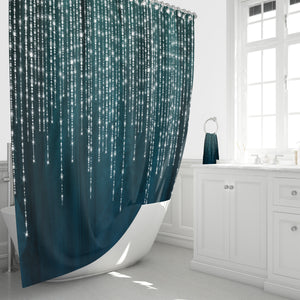 Boho Shower Curtain ,  Dark Teal, Lights and Lace