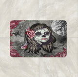 La Rosa Sugar Skull bath mat by Folk N Funky