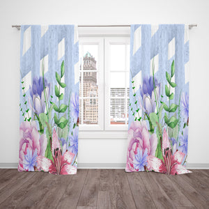 Lattice Watercolor Floral Window Curtains