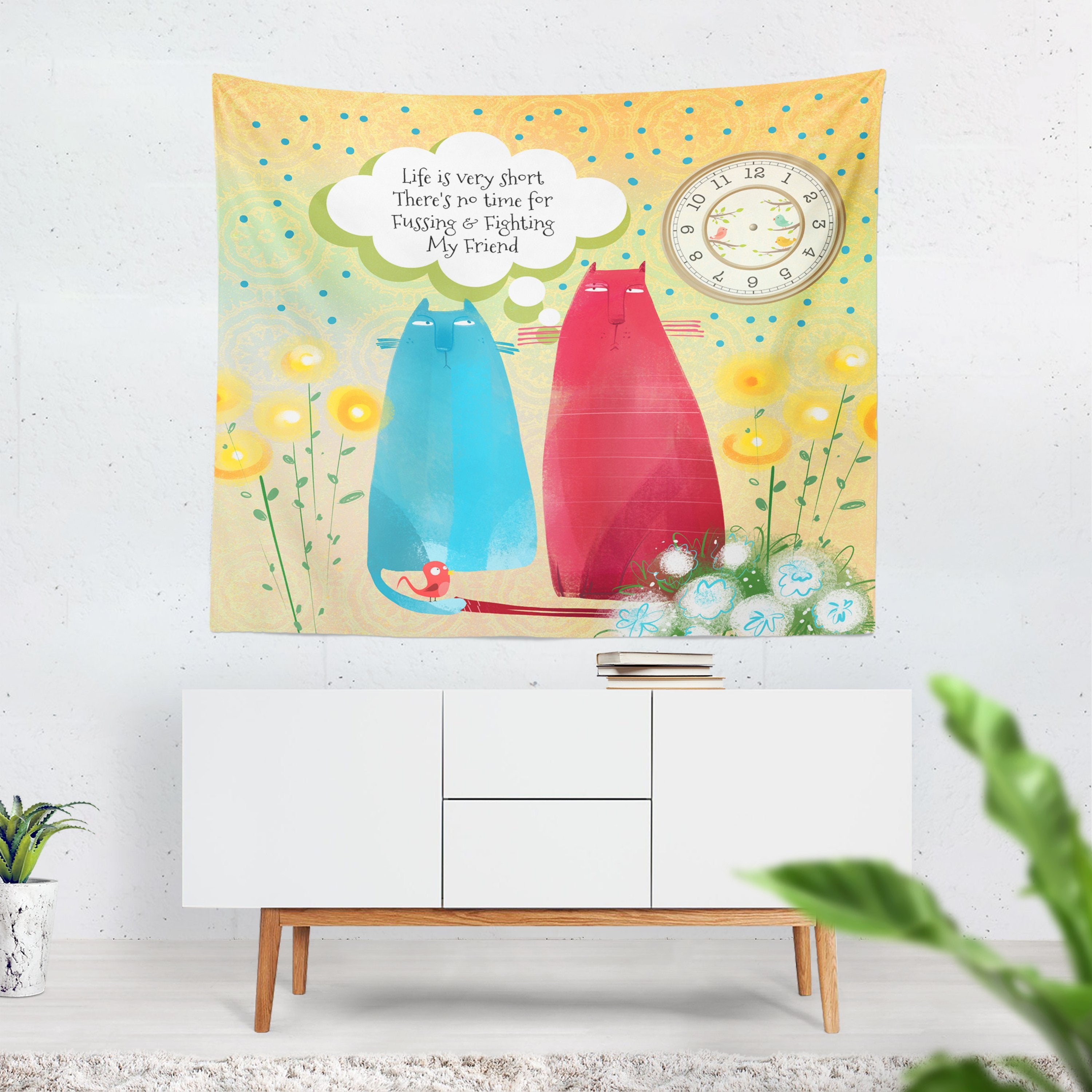 Flossies Cats Wall Tapestry, No Time For Fussing