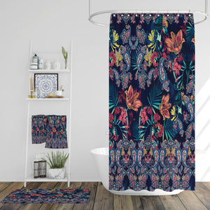 Navy Paisley Bathroom Decor Tiger Lily Shower Curtain