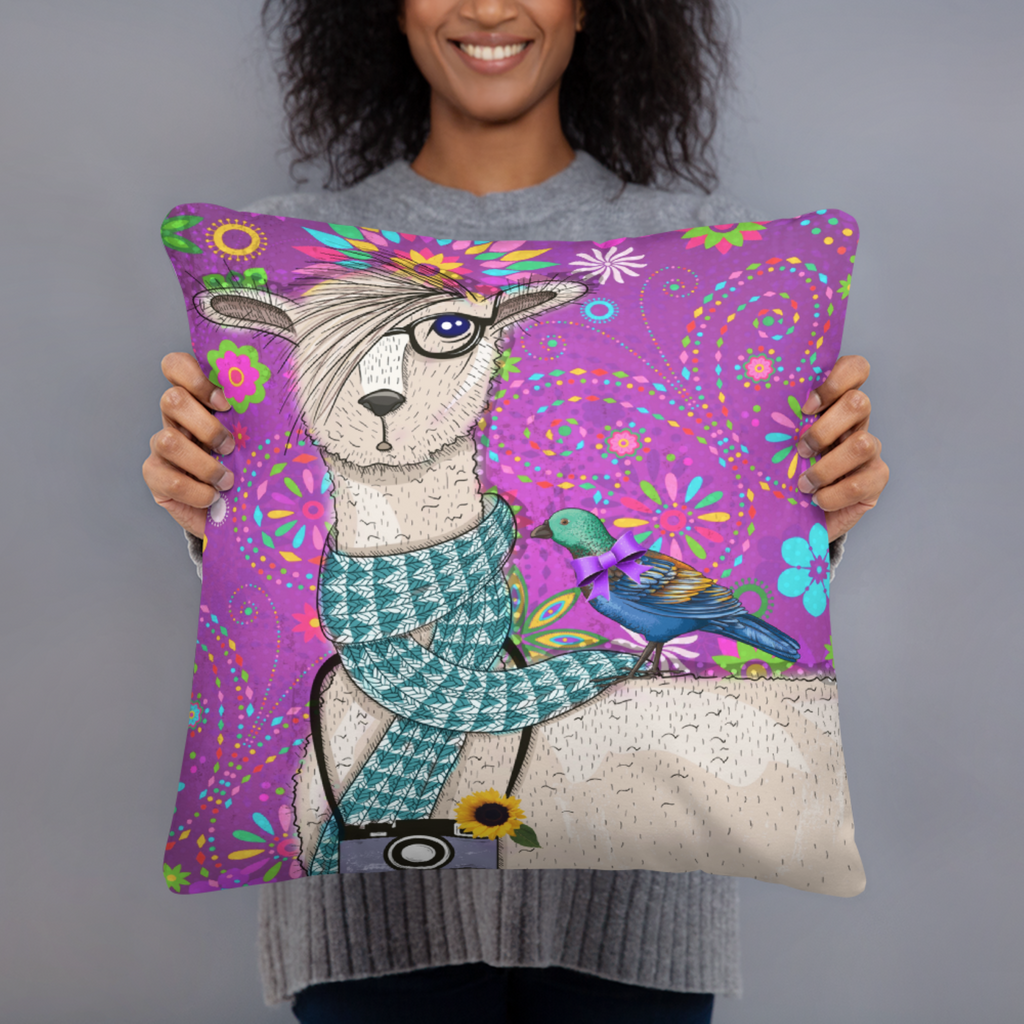 Floral Hipster Llama Throw Pillow