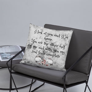 Skull Throw Pillow , Love  Poem FolkNFunky