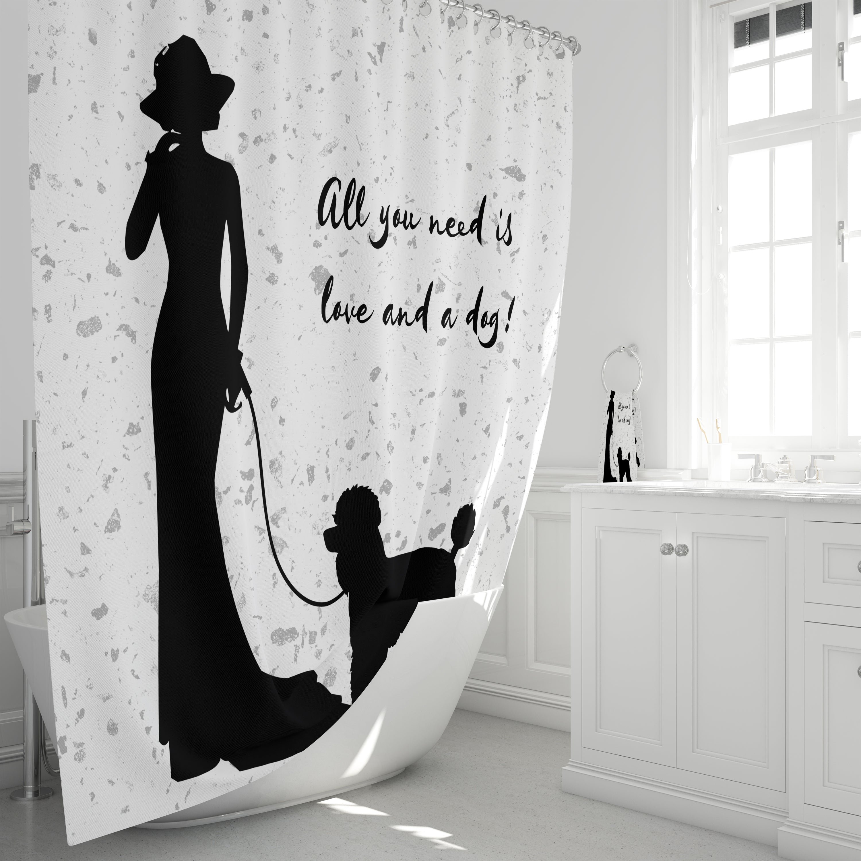 All You Need is Love and a Dog, Silhoutte Shower Curtain
