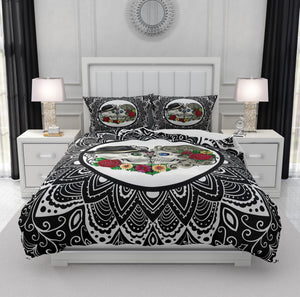 Black and White Forevermore Kissing Skull Beddingm Boho Mandala