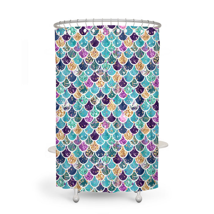 Coastal Mermaid Scales Shower Curtain Optional Accessories