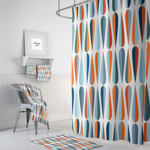 Mid-Century Modern Raindrops Shower Curtain