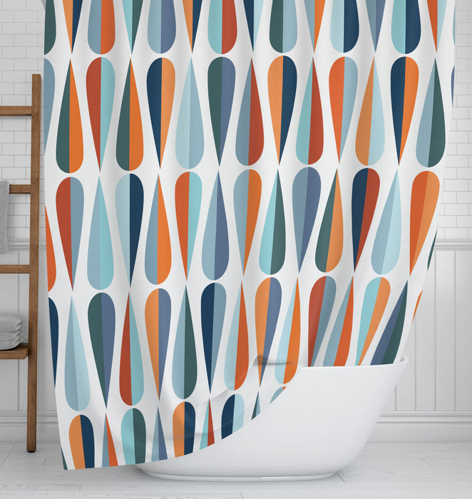Mid Century Modern Raindrops Shower Curtain