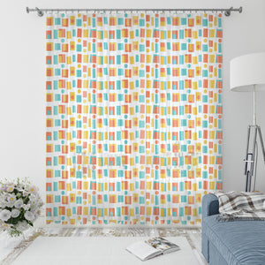 Mid Century Modern Window Curtains Retro Blocks