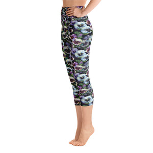 Floral Pansy Yoga Capri Leggings