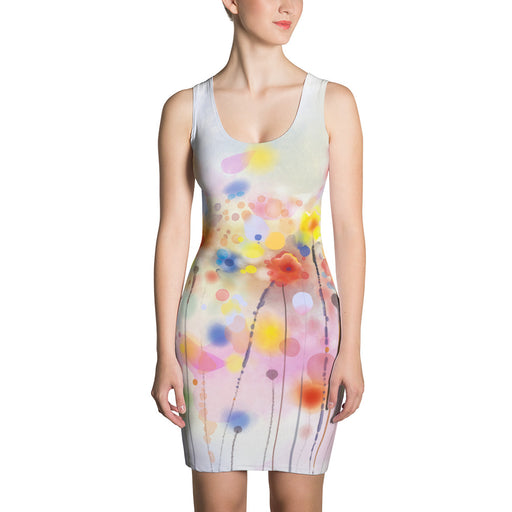 Poppy Field Body Con Floral Abstract Dress
