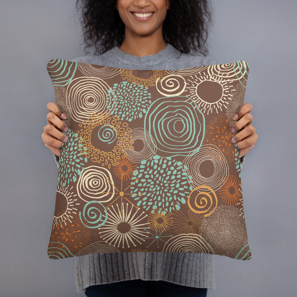 Brown Floral Throw Pillow