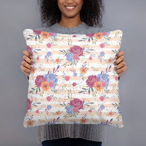 Boho Floral Sparkled Rose Throw Pillow