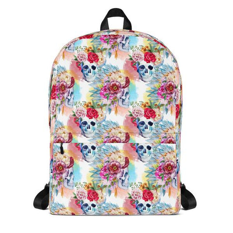 Watercolor Skulls Water Resistant Polyester Backpack With Laptop Pocket Front View