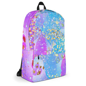 Funky Confetti Water Resistant Polyester Backpack With Laptop Pocket Side Angle View Left