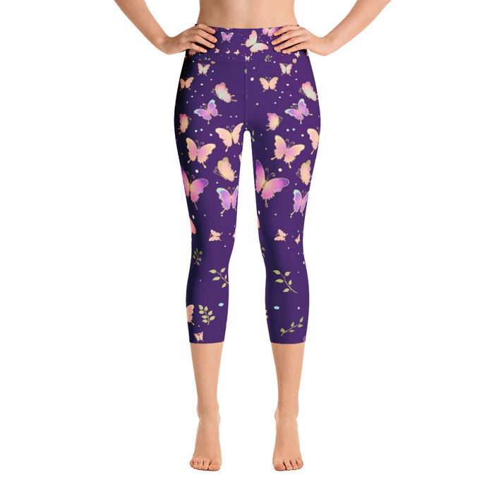 Purple Butterfly Yoga Capri Leggings
