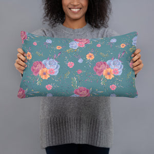 Fairy Dusted Green Floral Throw Pillow