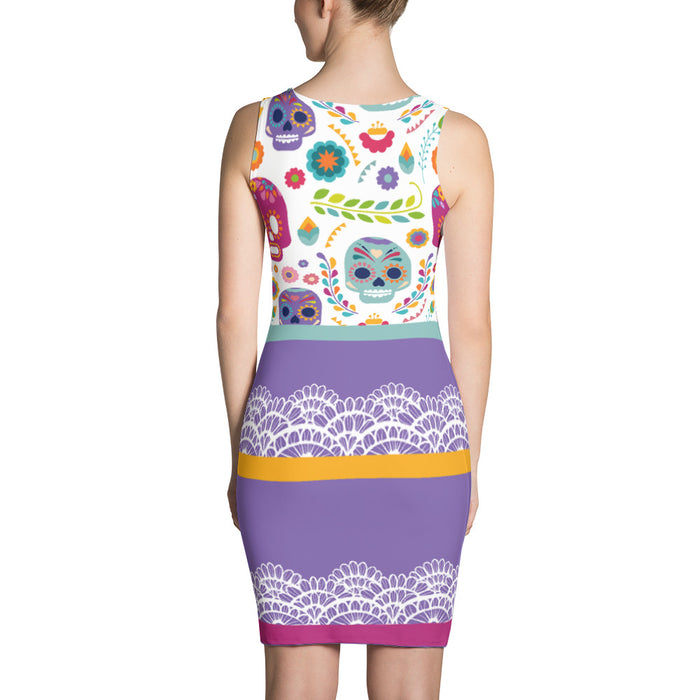 Color Crazy Sugar Skull Body Con Dress