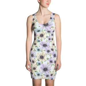 Painted Daisy Floral Body Con Dress